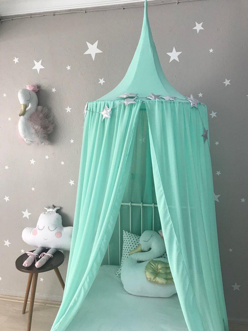chiffon bed canopy on bed canopy chiffon baldachin mint canopy kids ceiling etsy in 2021 kids canopy girls bedroom canopy crib canopy bed canopy chiffon baldachin mint