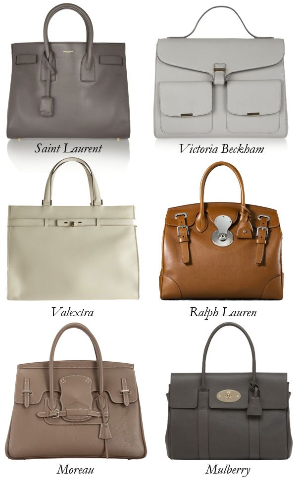 Birkin-inspired bags  Saint Laurent  Victoria Beckham  Valextra  Ralph  Lauren  Moreau  and Mulberry. f1e1be35473f5