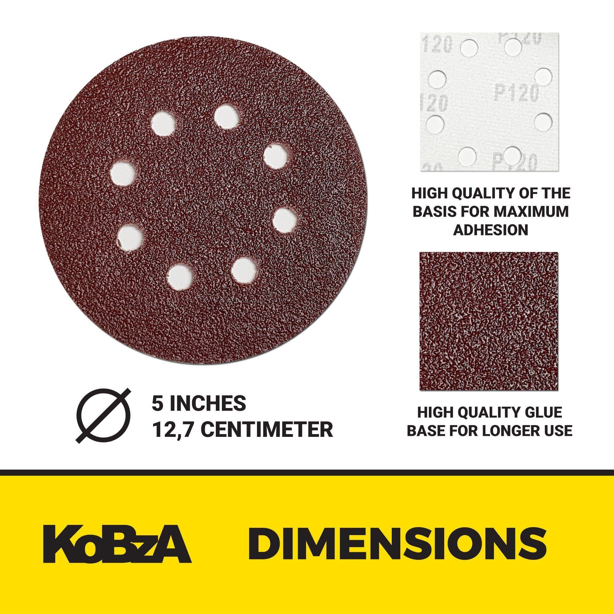 Kobza 60 Pieces 5 Inch 8 Holes Sanding Discs Hook And Loop Sandpaper Backing 10 Of 40 60 80 120 180 240 Grit Optimal Set Sanding Woodworking Tools Sandpaper