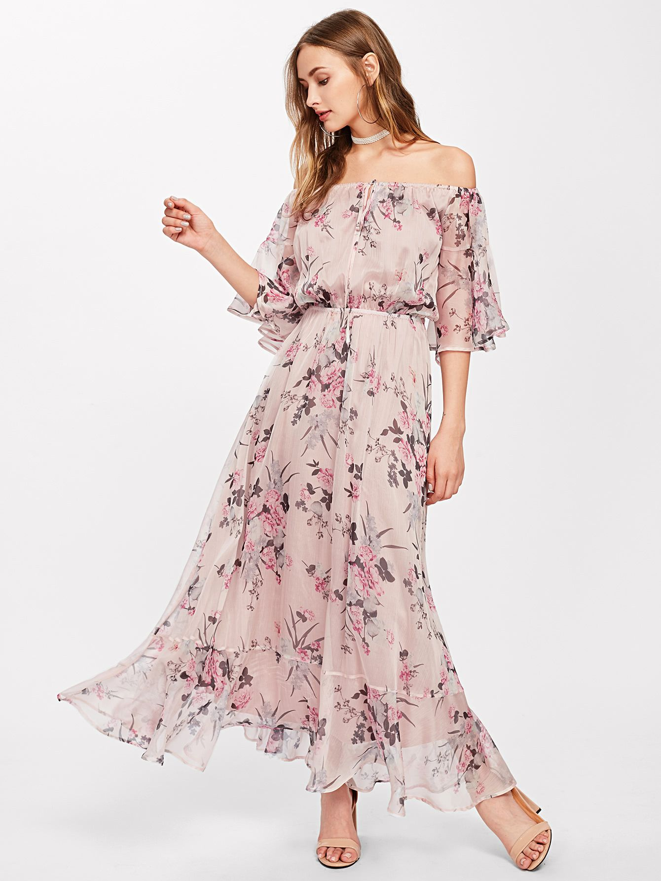 94b9f6138f Tie Front Trumpet Sleeve Botanical Bardot Dress -SheIn(Sheinside ...