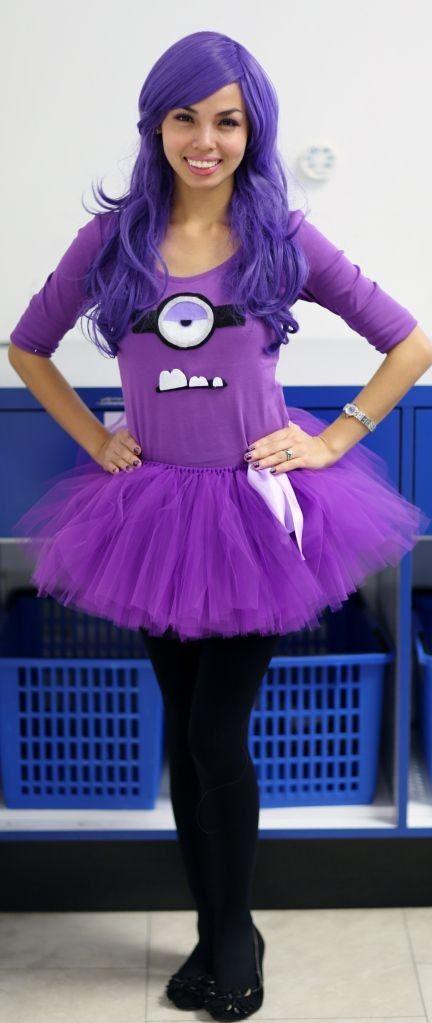 2014 Halloween Fabulous Purple Minion Costumes Purple Hair Purple Tutu Black Shoes 2014 Halloween Minion Halloween Purple Minion Costume Purple Minions