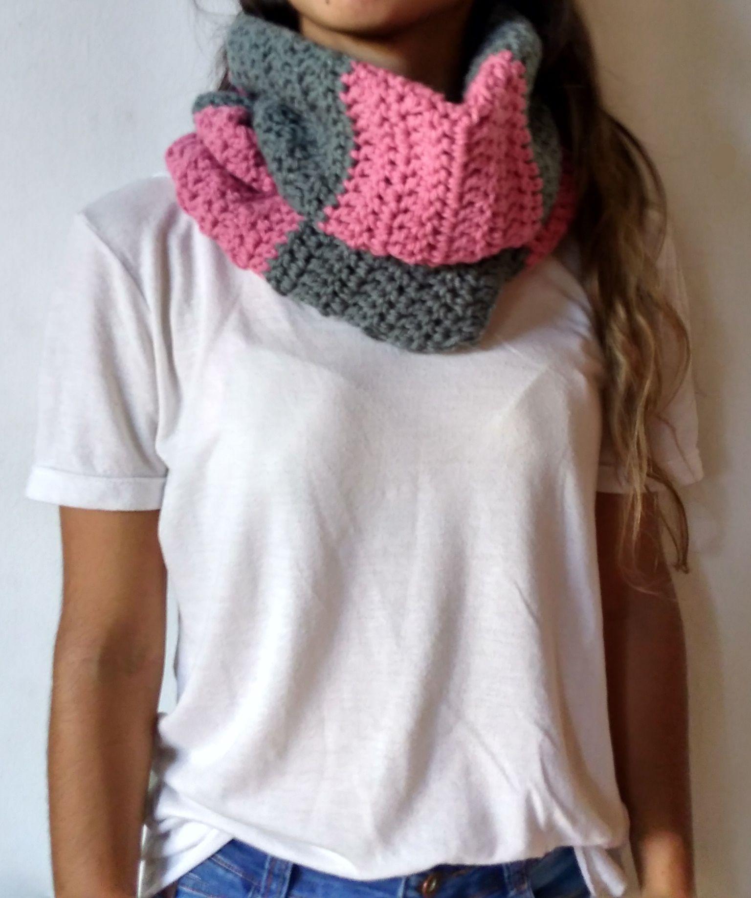 Bufanda infinita combinada 2 colores, ideal para el invierno, solo ...