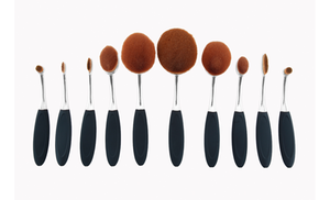 professional couture velveteen oval makeup brush set 10