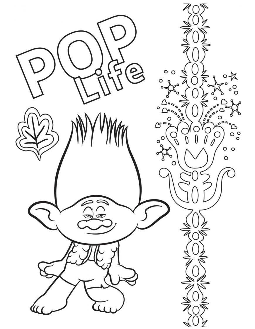 Trolls World Tour Coloring Pages In 2020 Coloring Pages Branch Trolls Trolls Movie