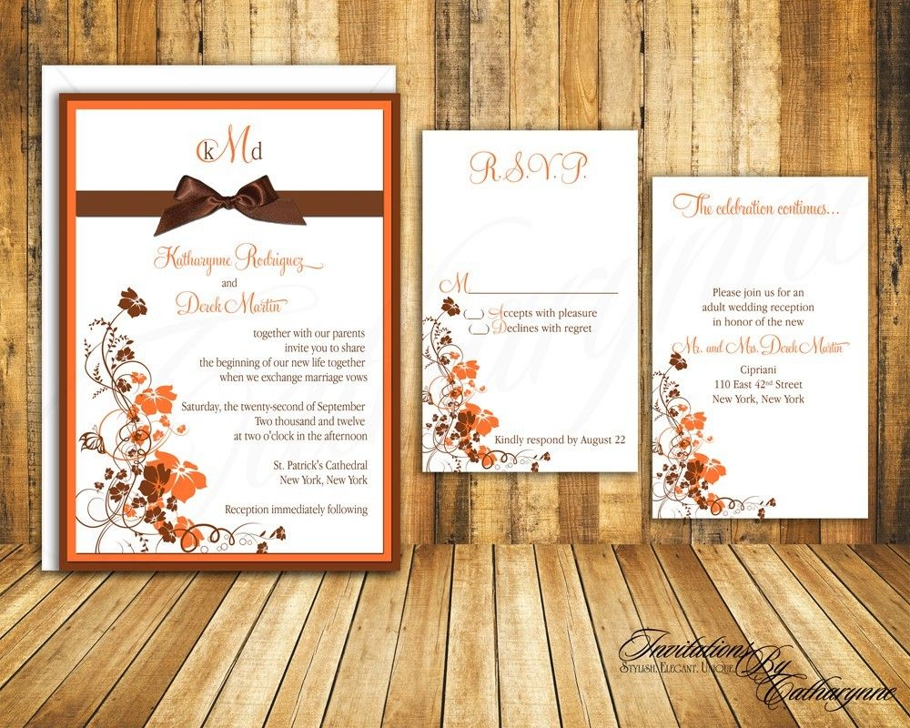 Fall Wedding Invitations In Orange And Brown By Catharynne On Etsy 3 05
