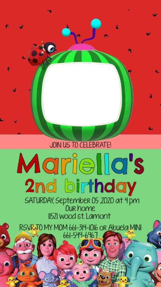 Mobile Cocomelon Birthday Evite Invitation Instant