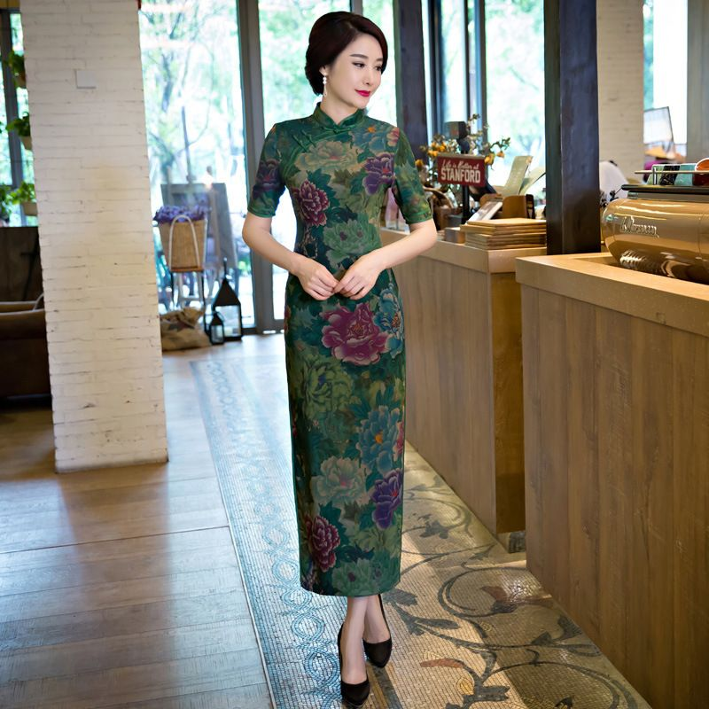 abc239191 Dark Green Cheongsam Dress Chinese Traditional Costume Women Long Silk Qipao  Robe Chinoise Vestido Oriental Wedding