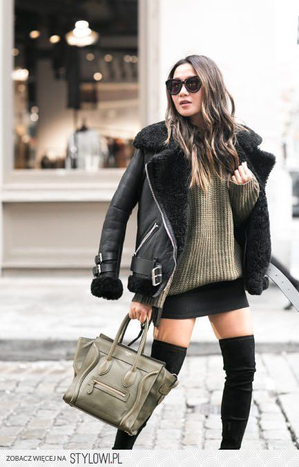 Olive Love :: Shearling jacket & Lace-up sweater : Wend… na Stylowi.pl