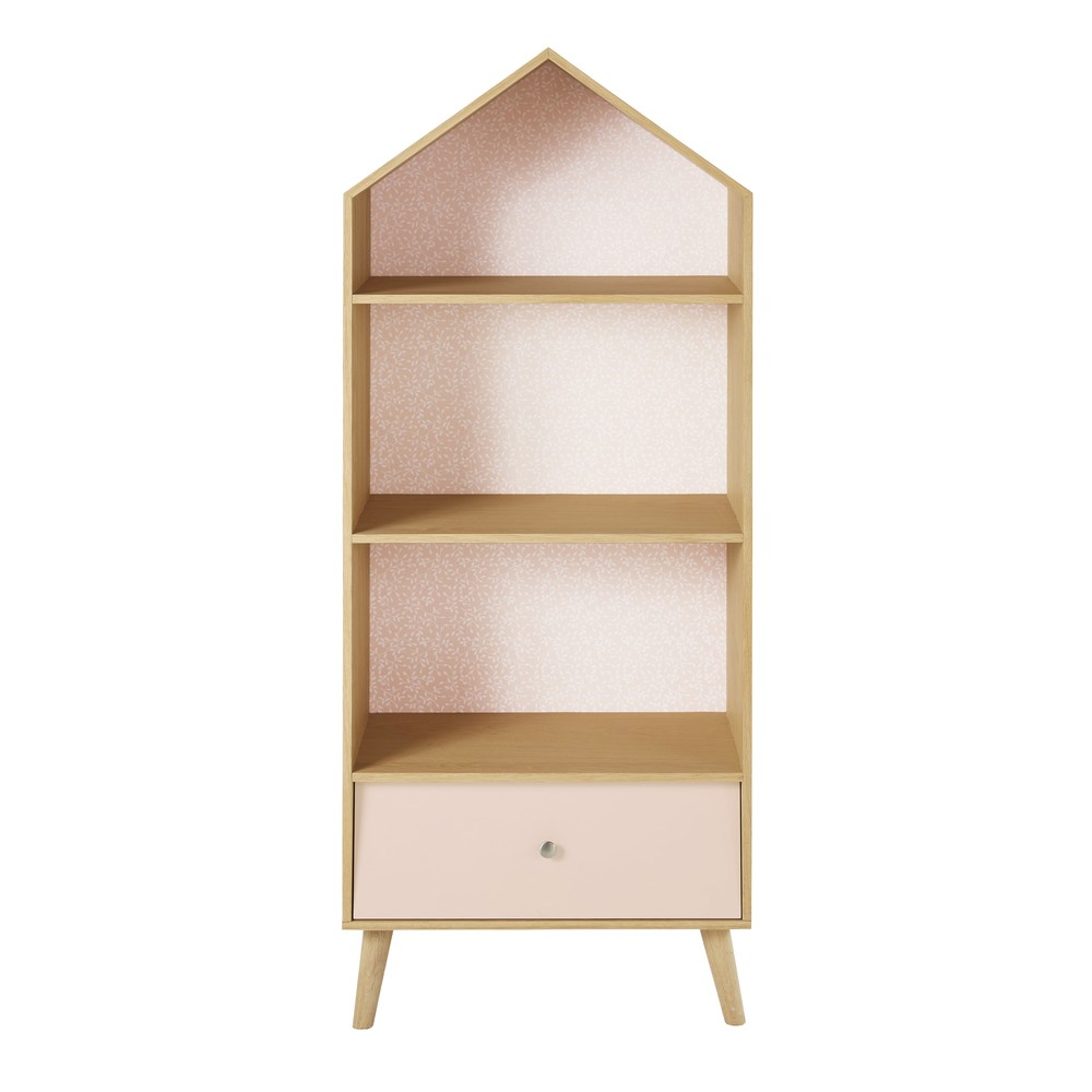 b cherregal in hausform f r kinder rosa und wei design. Black Bedroom Furniture Sets. Home Design Ideas