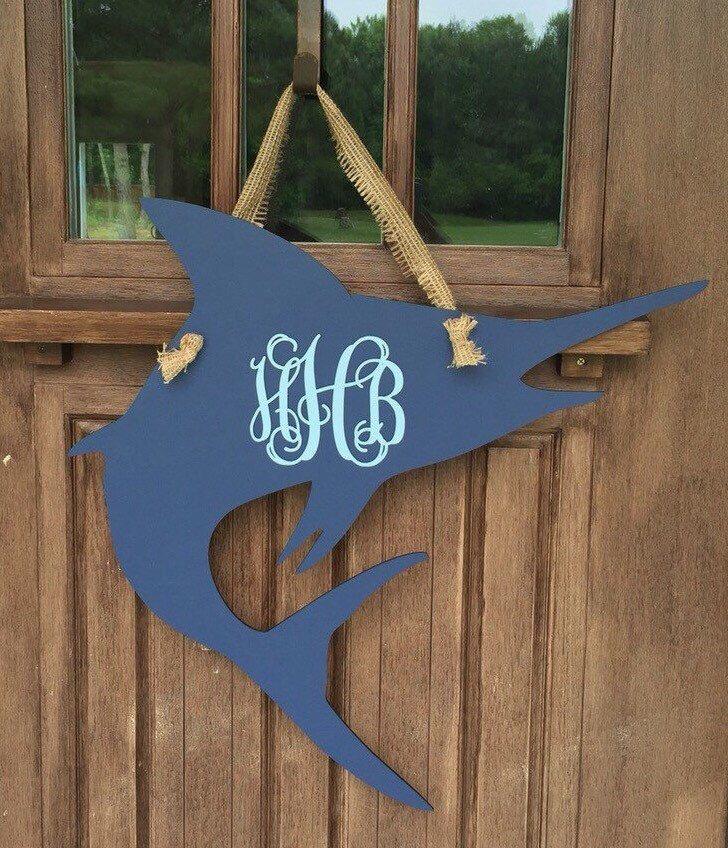 25  Monogramed Marlin Door Hanger Custom Order by TheCoralAnchor on Etsy / & 25