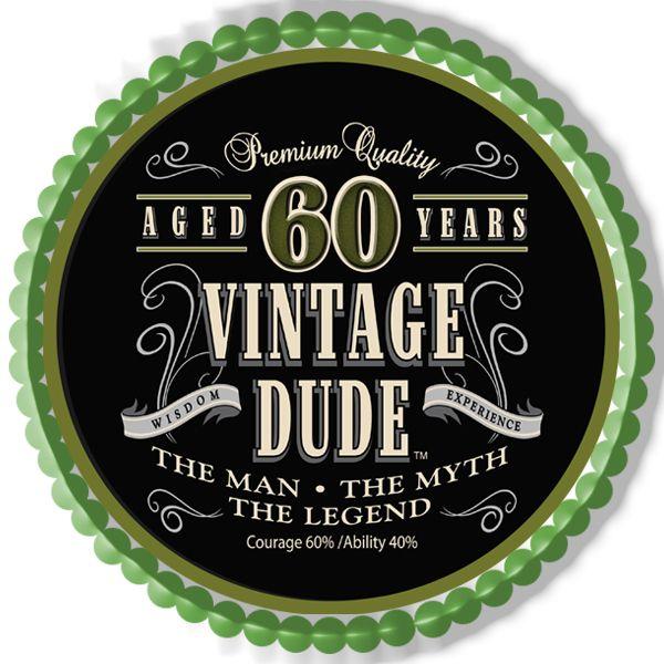 Vintage Dude 60th Green Edible Birthday Cake Topper