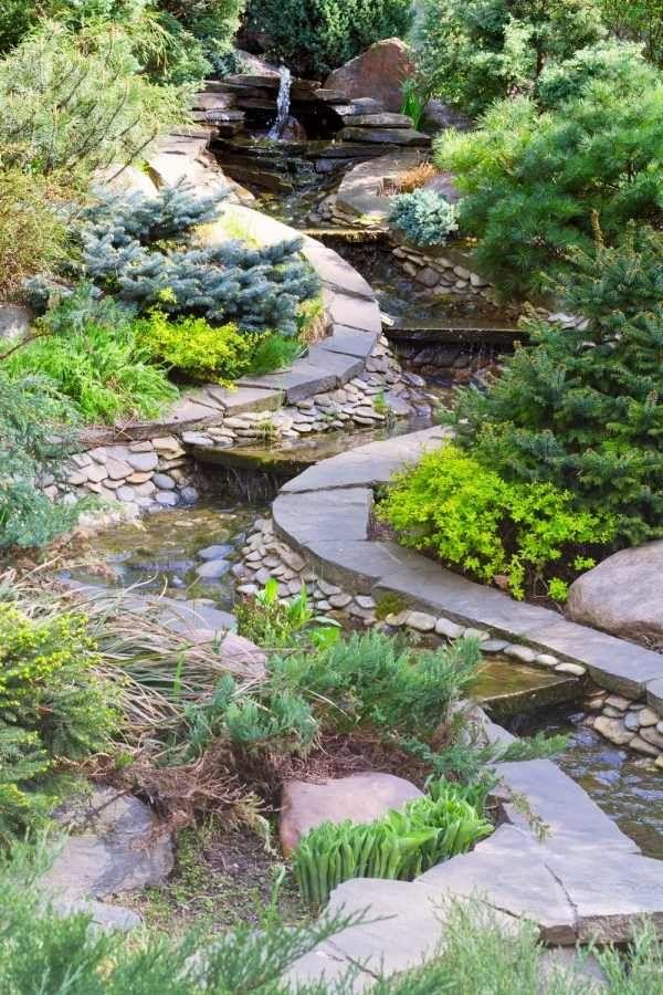 steingarten gestalten-flusssteine bachlauf immergrüne pflanzen, Garten ideen