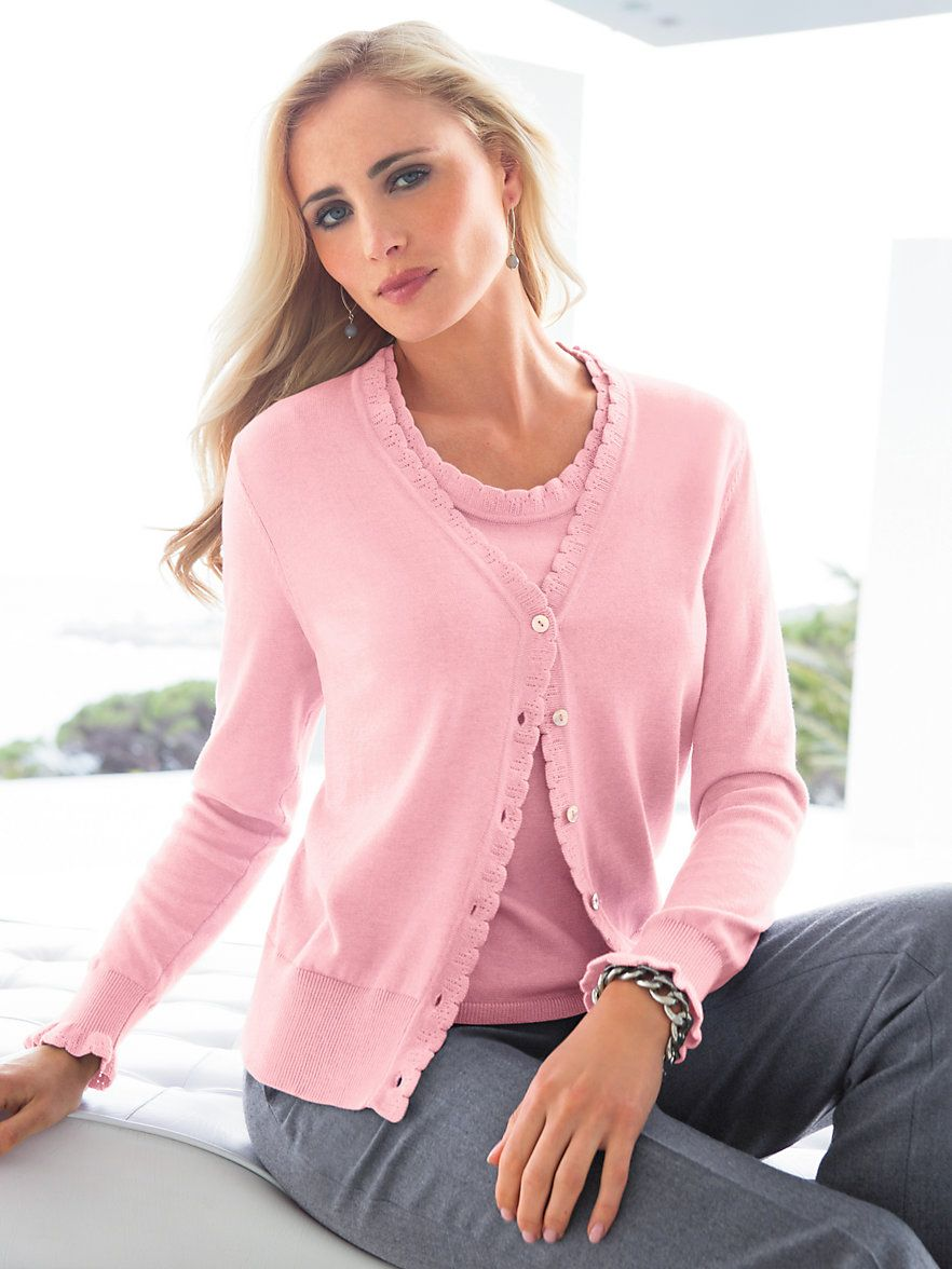 a33e09d54828a8 twinset - Google Search Pink Cardigan, Twins, Jumper, Blouse, Outfits, How