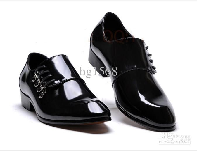 Lowest price men's black shine wedding shoes prom shoes leather ...