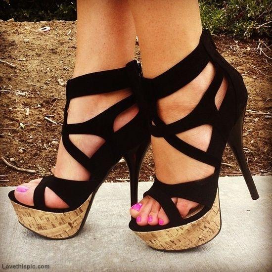 e2bab32bad10 Sexy Black Heels fashion black summer heels cork sexy shoes