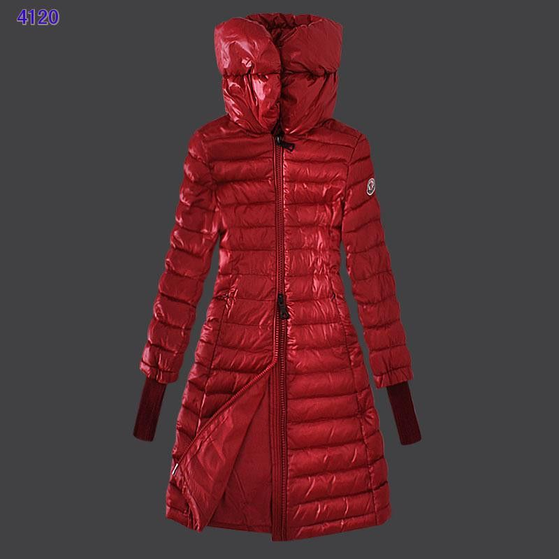 Moncler Women Down Coat With High Stand Collar Windproof Red