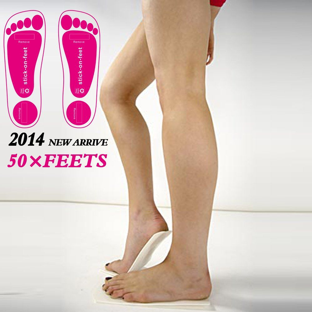 Economy 25 pairs pink spray tanning stick on foot