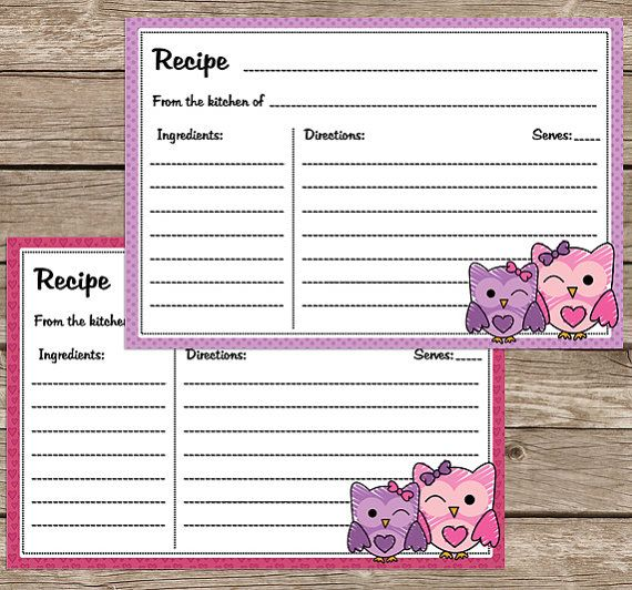Cute Owl Recipe Cards Printable 4 x 6 size by ...