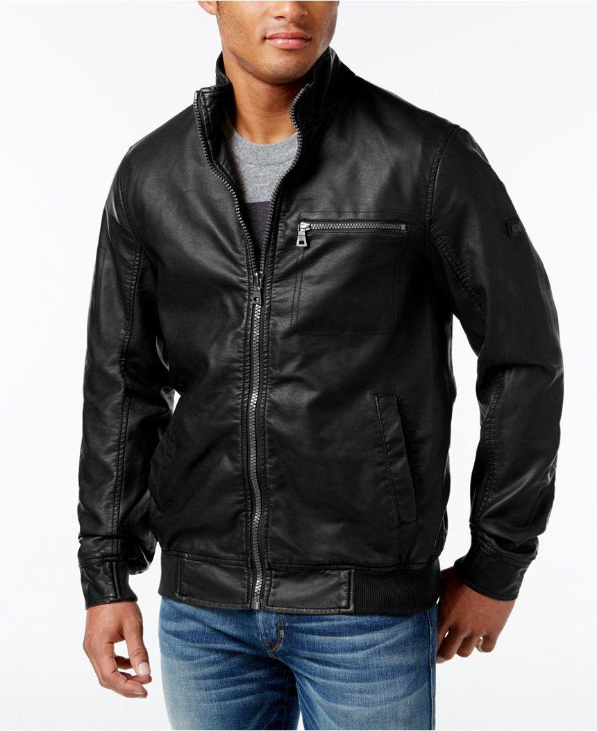Inc International Concepts Men S Varsity Faux Leather Zip Front Jacket Only At Macy S Coats Mens Jackets Brown Moto Jacket Faux Leather Motorcycle Jacket [ 1053 x 860 Pixel ]