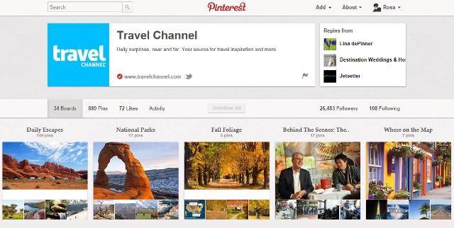 """Esempio di bacheca tema """"viaggi"""" http://pinterest.com/travelchannel"""