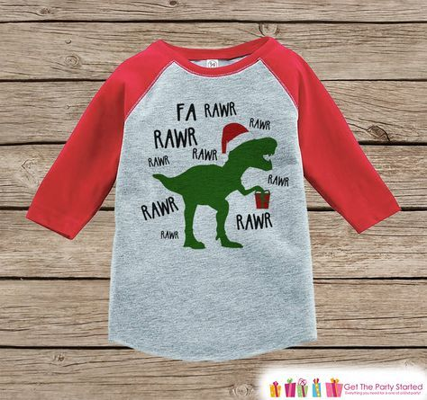 beb6bf2aab Dinosaur Christmas Outfit - T Rex Christmas Shirt or Onepiece - Holiday  Outfit for Baby, Toddler, Youth - Boy Dino Outfit Tyrannosaurus Rex