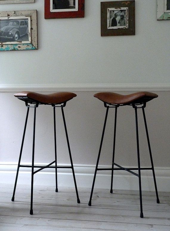 Pair Of Vintage French Cafe Saddle Stools By Ormstonsaintuk 395 00 Leather Counter Stools Kitchen Bar Stools Cafe Furniture