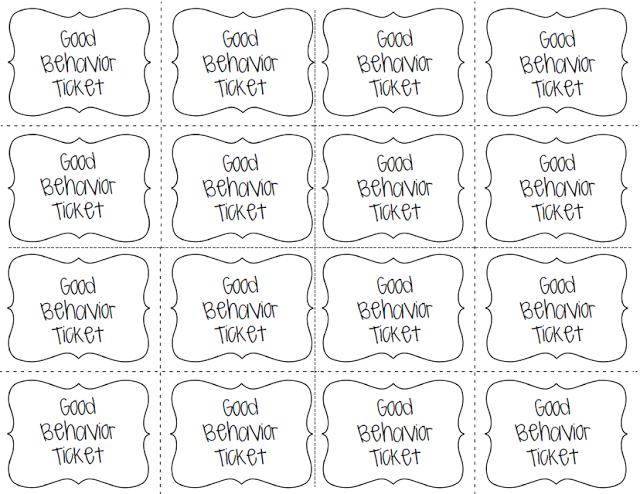 Good Behavior Tickets To Cash In For Rewards