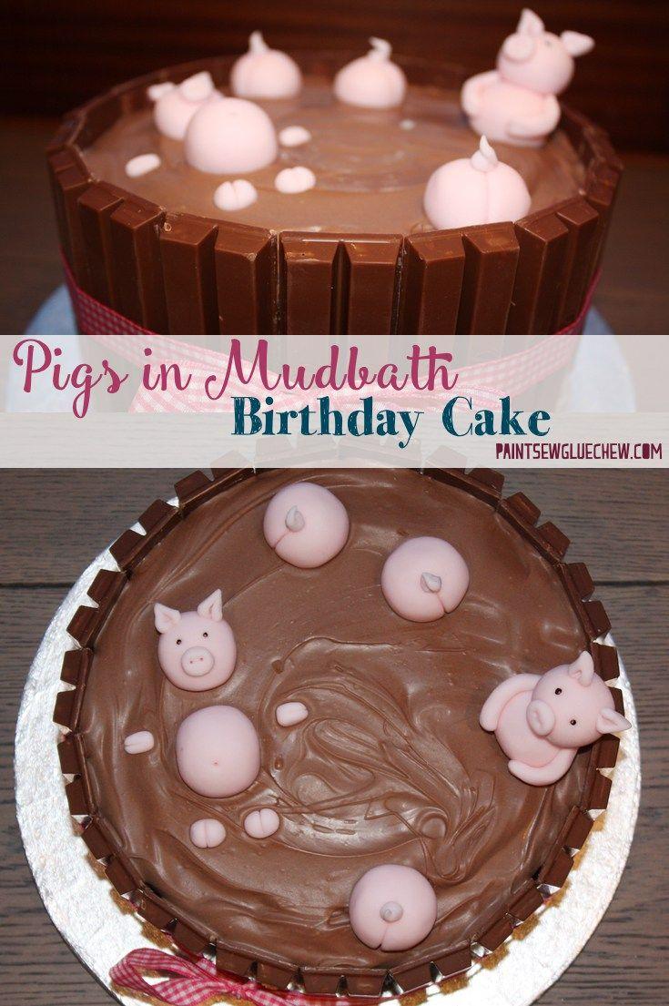 Pig Cake With Pigs In A Mud Bath Sugar Teefs Pinterest Cake