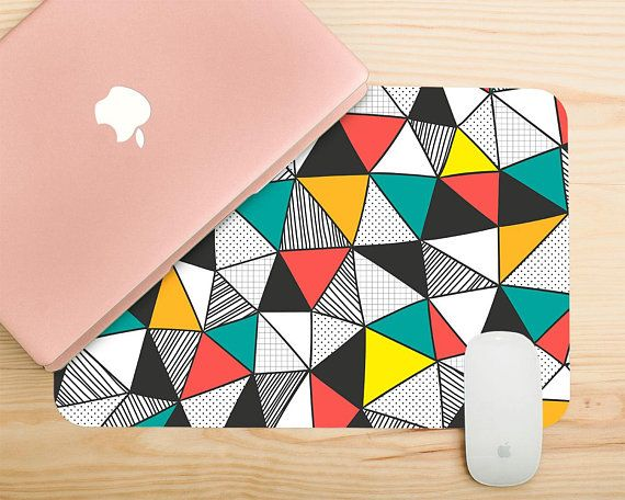 Triangle Pattern Cute Mouse Pad Desk Mat Large Geometric Colorful Mousemad Mousepad Office