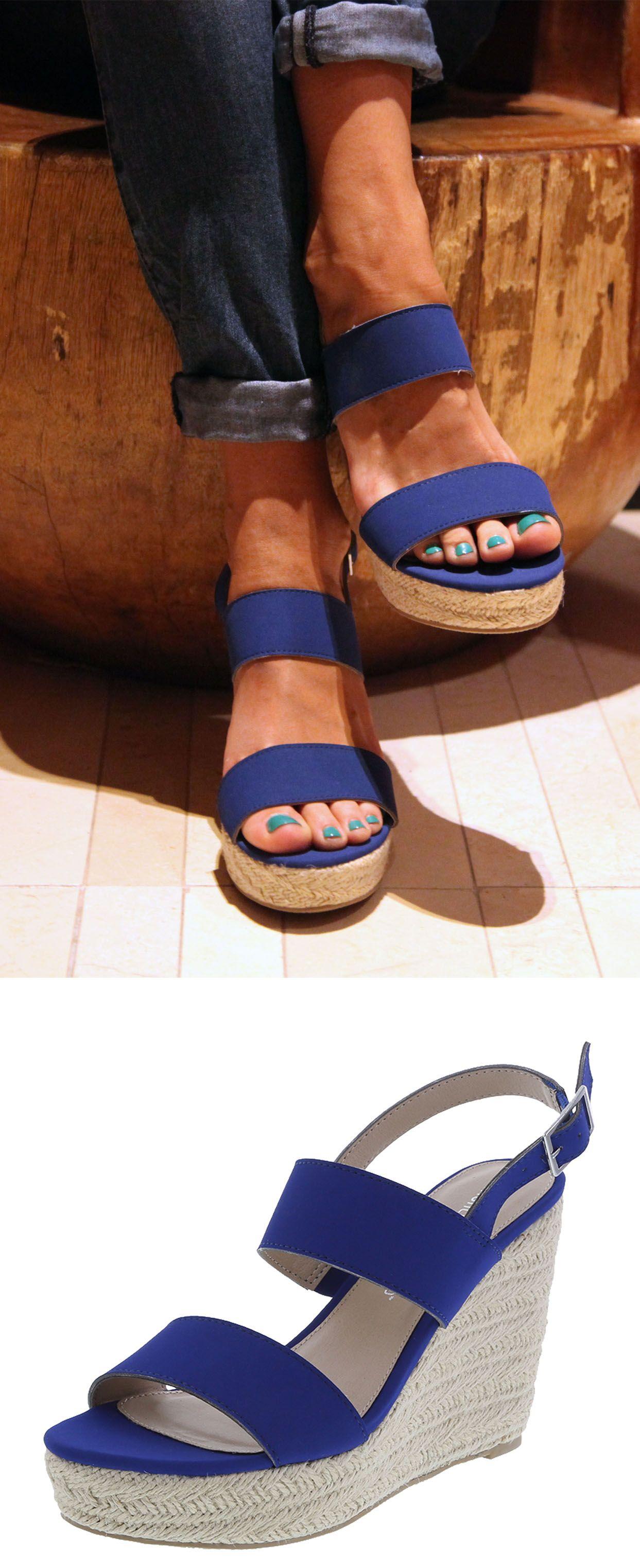 da18b575561fe Whimsy Espadrille Wedge   Blue High Wedge Sandal   Payless ShoeSource