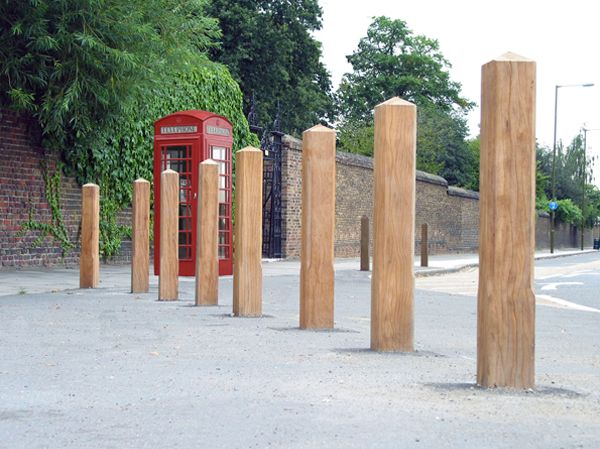Epping square hardwood timber bollard installed outside for Outdoor furniture epping