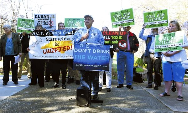 On the grounds of Gov. Pat McCrory's alma mater, a parade of speakers called on state leaders to stop intervening in a scientific process and declare Buck Steam Station's coal ash high priority.