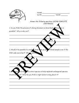 jurassic park essay questions critical thinking worksheets and  jurassic park essay questions