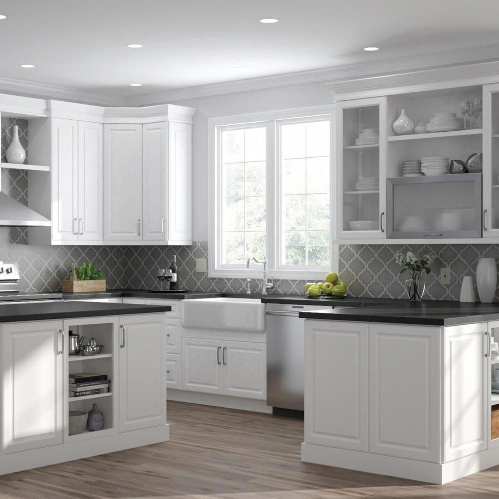 Hampton Bay Designer Series Elgin Assembled 15x30x12 In Wall Kitchen Cabinet With Glass Door In White Wgd1530 Elwh The Home Depot Glass Kitchen Cabinet Doors Kitchen Trends Open Kitchen Shelves