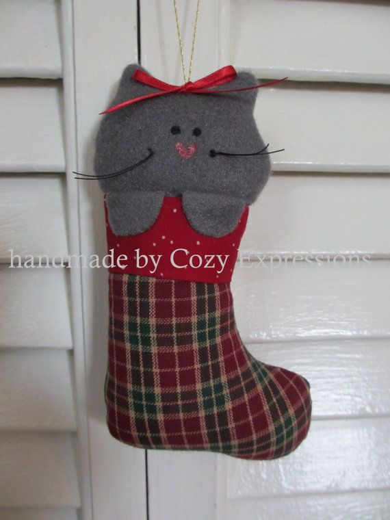 Fabric Cat Ornament by CozyExpressions on Etsy, $4.00