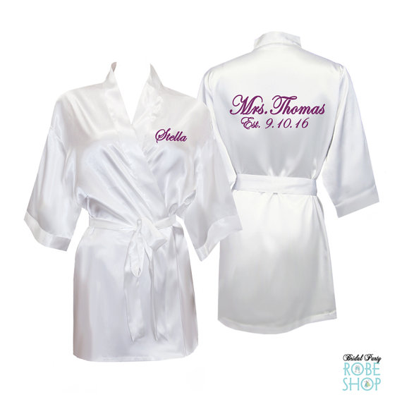 0fb71453d3 Personalized Satin Bridal Robe with Name on Front and Back - Satin Bride  Robe