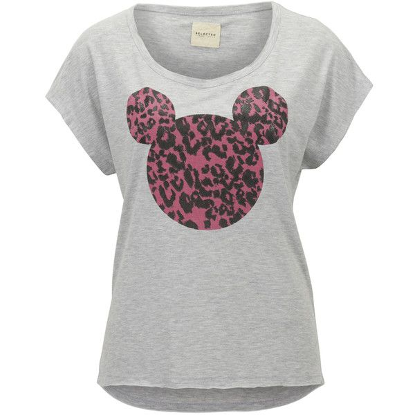 Selected Femme T-shirt Mickey (49 BRL) ❤ liked on Polyvore featuring tops, t-shirts, short sleeve tops, gray t shirt, short sleeve tee, gray tees and round neck top