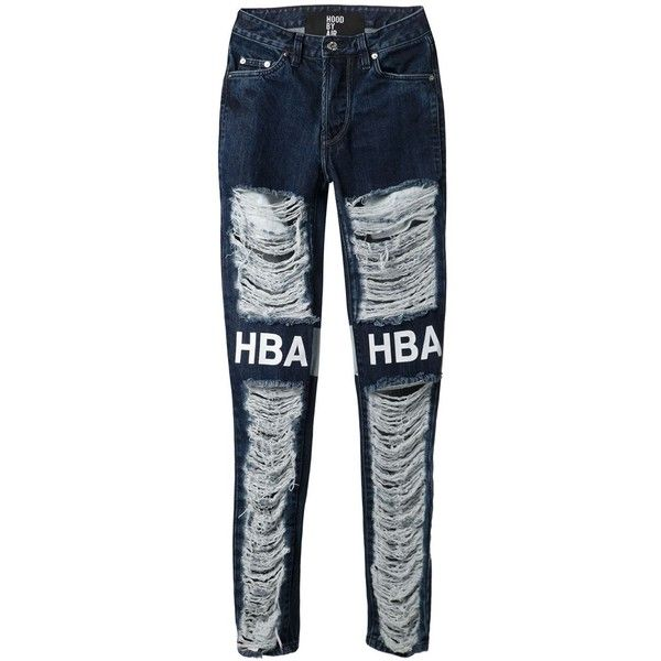 Hood By Air distressed logo jeans (4.545 NOK) ❤ liked on Polyvore featuring jeans, pants, blue, hood by air and blue jeans