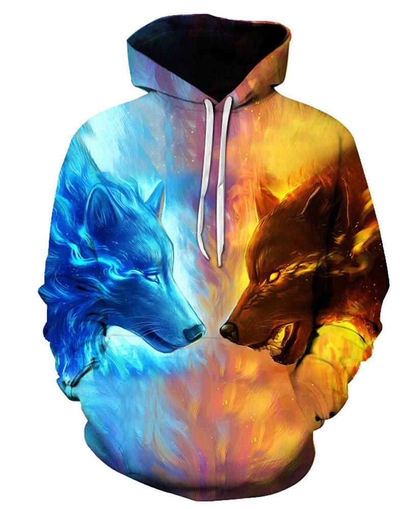 5d7b73ac965e Fire Wolf Fight 3D Pattern Color Block Long Sleeve Cool Hoodies