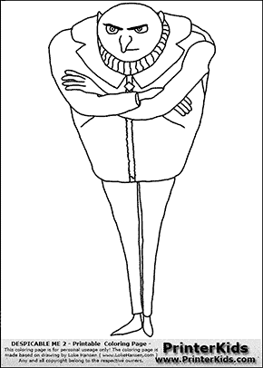 Despicable me 2 gru 4 full figure coloring page for Gru coloring pages