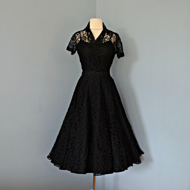 Vintage 1950s Lace Party Dress.. Black lace party dress