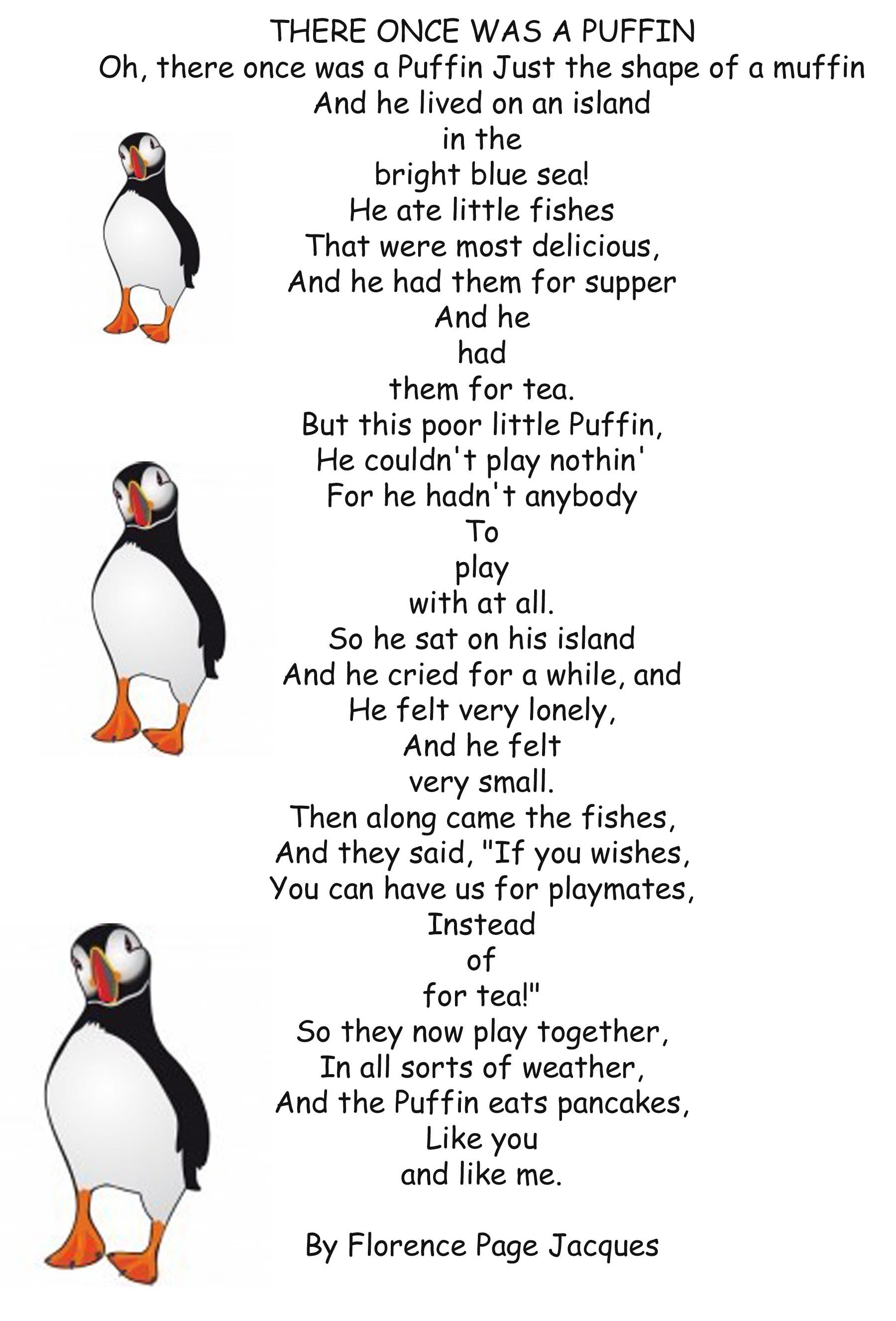 Uncategorized Short Animal Poems there once was a puffin by florence page jacques jeanne jacques
