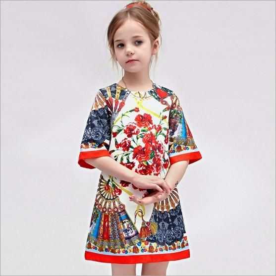 Spring Childrens Clothing Kids Elegant Round Neck Dress Best Sale ...