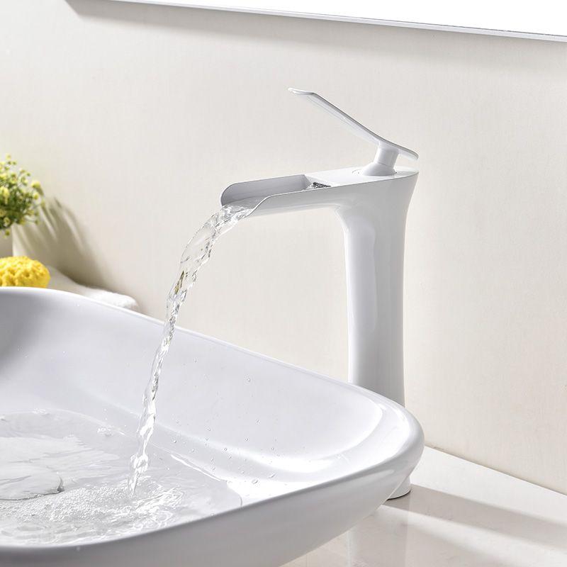 White Vessel Sink Faucet Single Hole Single Handle Mixer Tap For