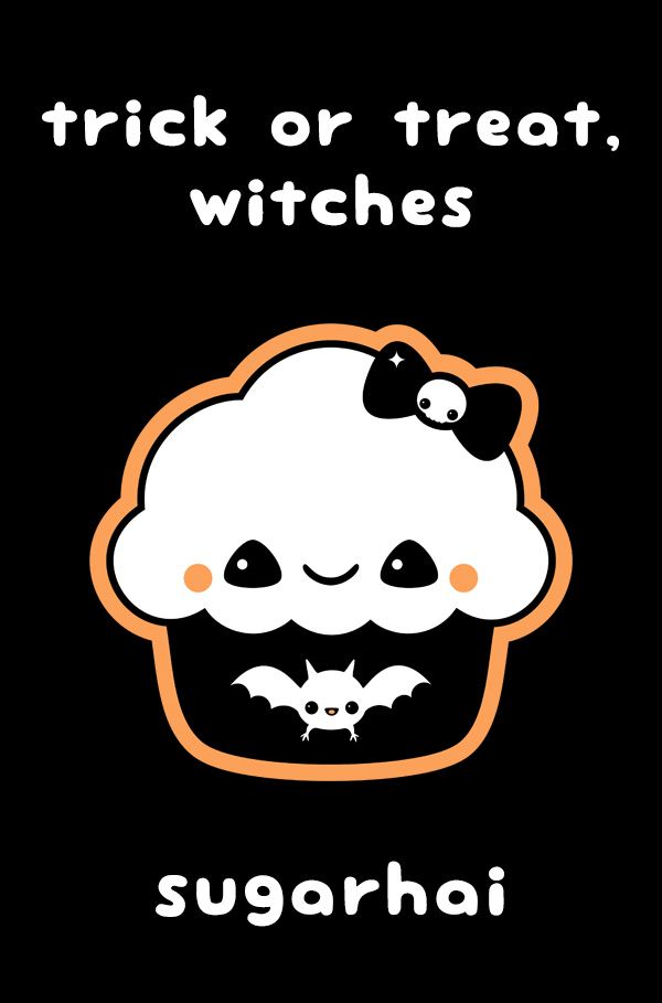 Super Cute Halloween Cupcake From Sugarhai With The Quote Trick Or Treat Witches Halloween Doodle Halloween Wallpaper Funny Doodles