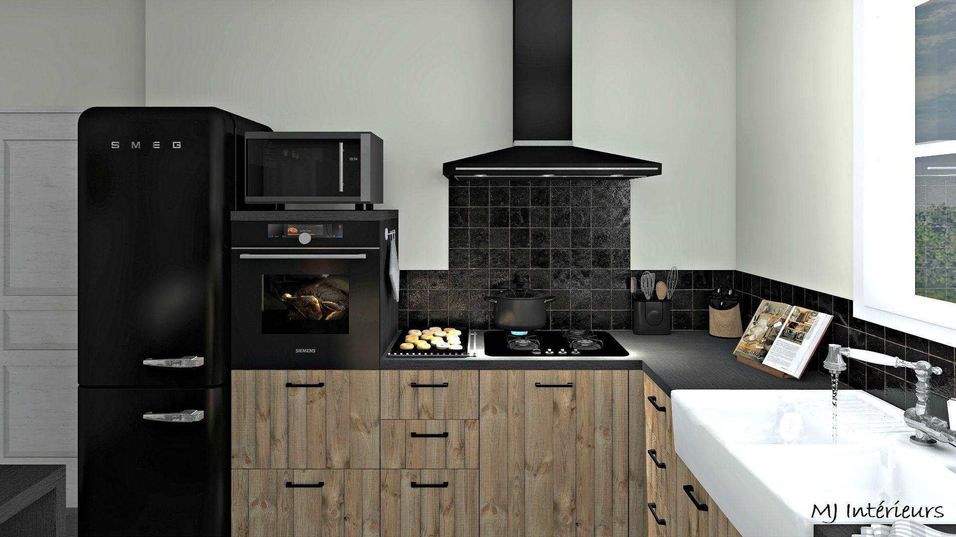 Cuisine Style Industriel Et Rustique Facades En Bois Brut