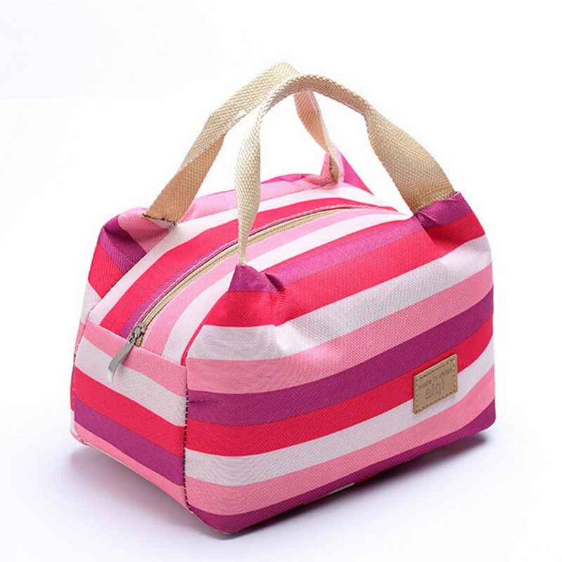 Insulated Cold Canvas Stripe Picnic Carry Case Thermal Portable Lunch Bag Pouch