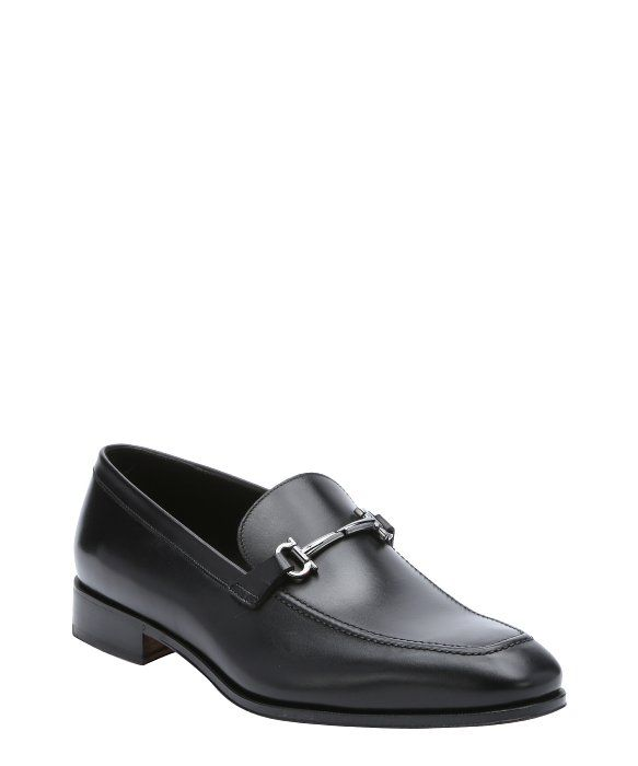 86a005c9814 Salvatore Ferragamo black leather  Fenice  gancini horsebit detail loafers