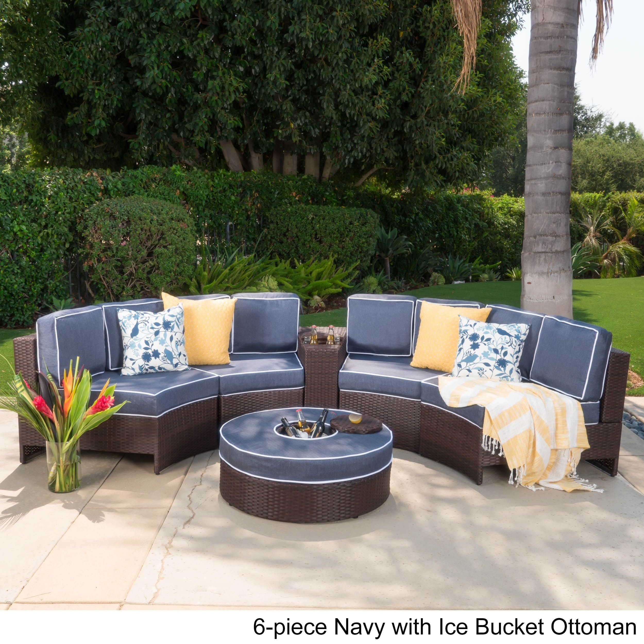 Madras Ibiza Outdoor Wicker Sectional Set with Ottoman by