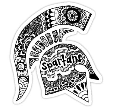 Michigan State Spartan Helmet Zentangle\